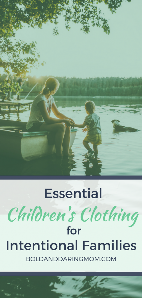 Mom and Daughter Playing in Lake with Title Overlay of Essential Children's Clothing for Intentional Families - Kids clothes, remove stains, laundry hacks, play clothes, intentional living